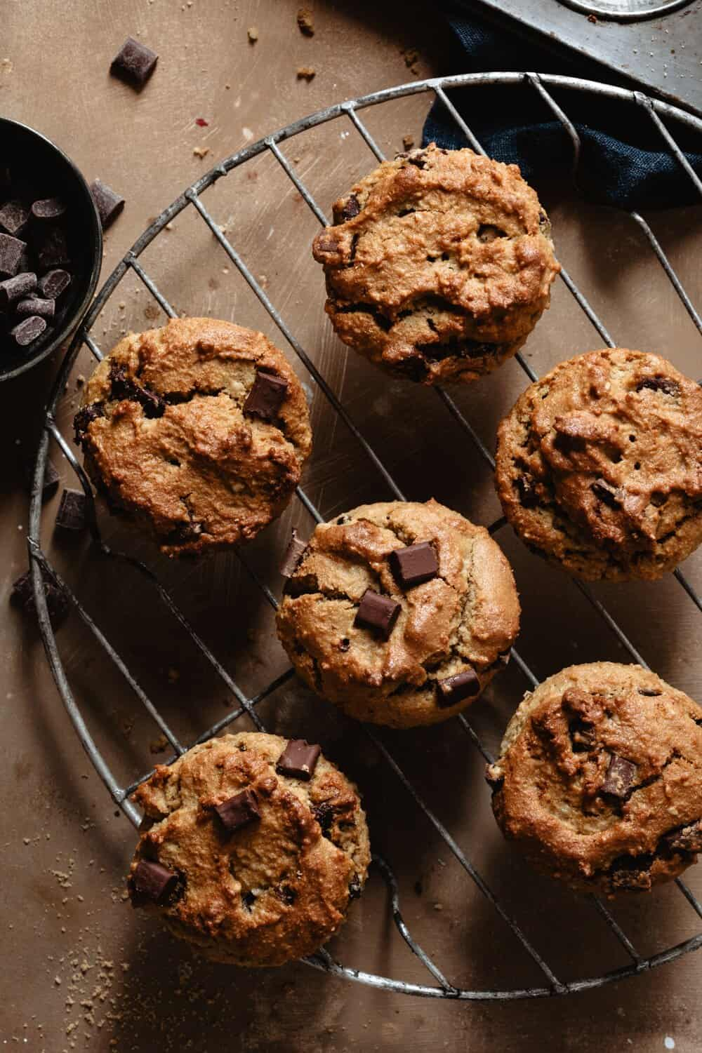 CHOCOLATE CHUNK TAHINI MUFFINS - INGREDIENTS1/3 cup coconut flour 1/3 cup almond flour 1/4 cup coconut sugar 1/2 tsp baking soda 1/2 tsp baking powderpinch sea salt1/4 cup coconut oil, melted1/4 cup Soom Foods Tahini2 eggs1 tsp vanilla3/4 cup Hu Kitchen Chocolate Gems (recommended) or chocolate chunks of choice