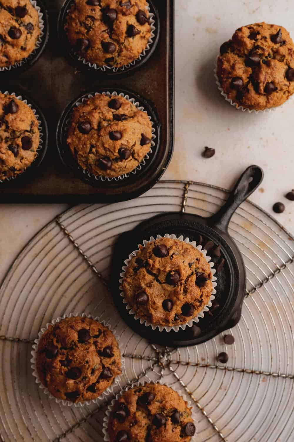 PALEO CHOCOLATE CHIP ZUCCHINI MUFFINS - INGREDIENTS2 cups almond flour 1/4 cup coconut flour1/2 cup almond butter1 tsp cinnamon1 tsp baking soda2 eggs1/2 cup coconut oil, melted1 tsp salt1 heaping cup dairy free chocolate chips1/4 cup coconut sugar2 zucchini, grated (1 cup)