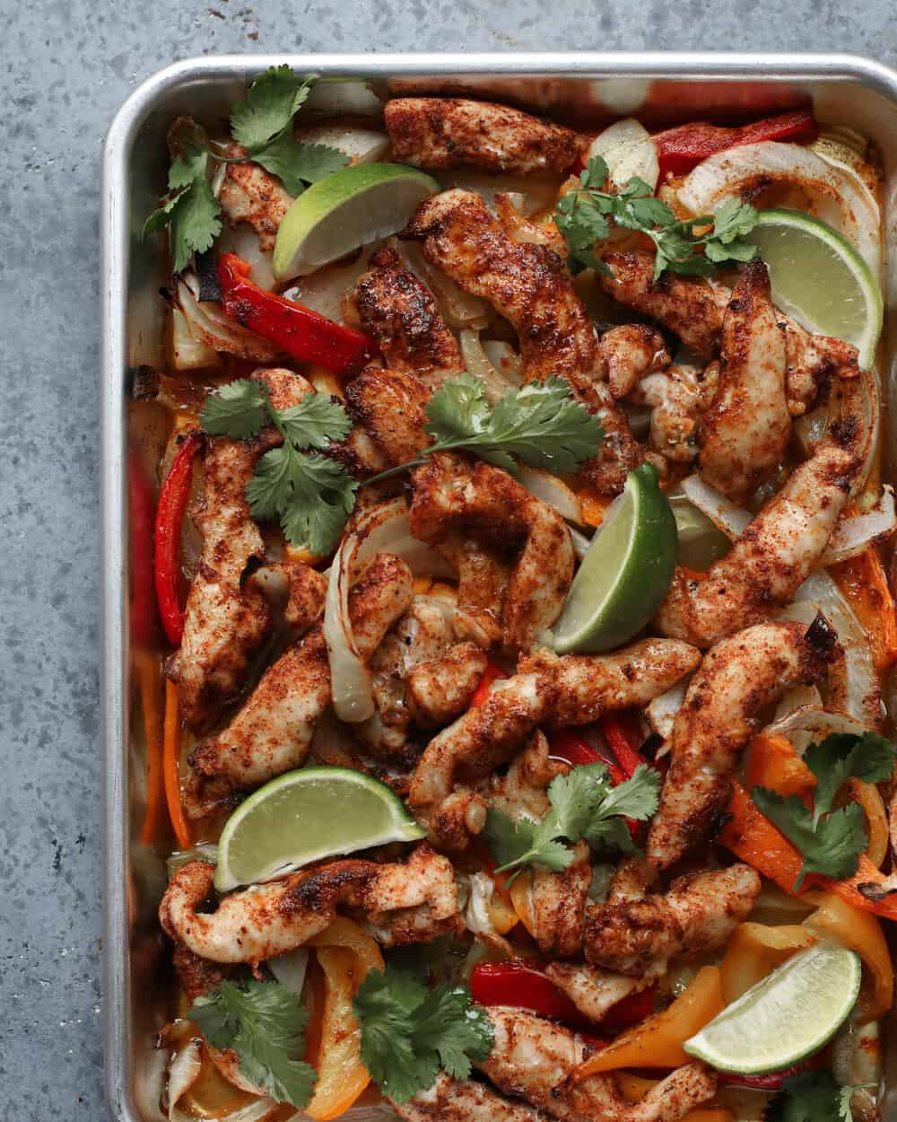 CHIPOTLE CHICKEN FAJITAS - INGREDIENTS2 lbs chicken tenders1 of each color bell peppers (green, yellow, red, orange)1 onion4 cloves garlic, mashed3 tb olive oil1 limecilantro to tasteFOR THE SEASONING:1/2 tsp chipotle powder1 tsp chili powder1 tsp paprika2 tb cumin1 tsp sea salt1/2 tsp pepper