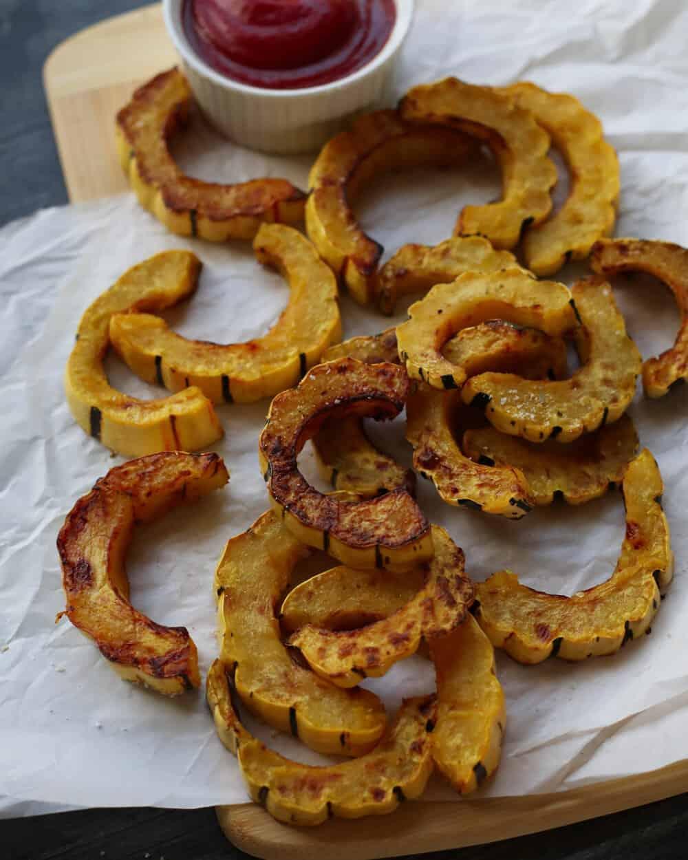 DELICATA SQUASH FRIES - INGREDIENTS1 delicata squashavocado oil spraysalt + pepper