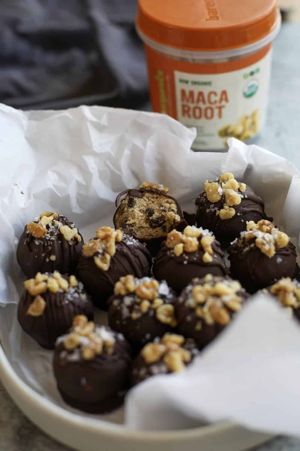 WALNUT TAHINI TRUFFLES - INGREDIENTS1 cup almond flour3/4 cup tahini1 tsp cinnamon1 scoop collagen peptides (optional)1/2 cup maple syrup1/2 cup crushed walnuts1 tb Bare Organics Superfoods Maca Powder 1 cup dairy free chocolate chipssea salt flakes