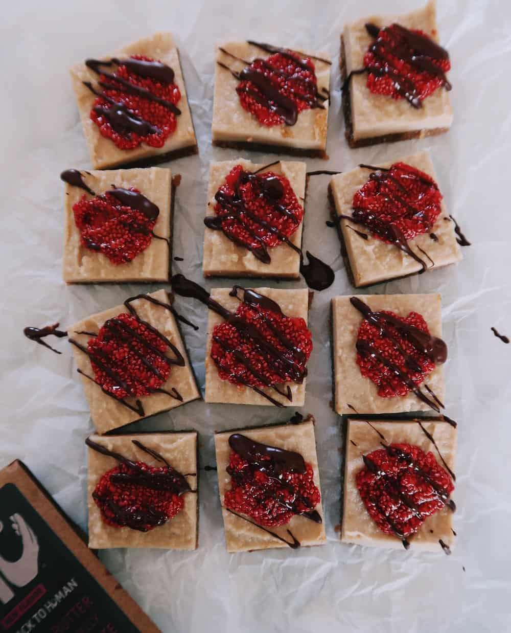 paleo raspberry cheesecake bars by kalejunkie